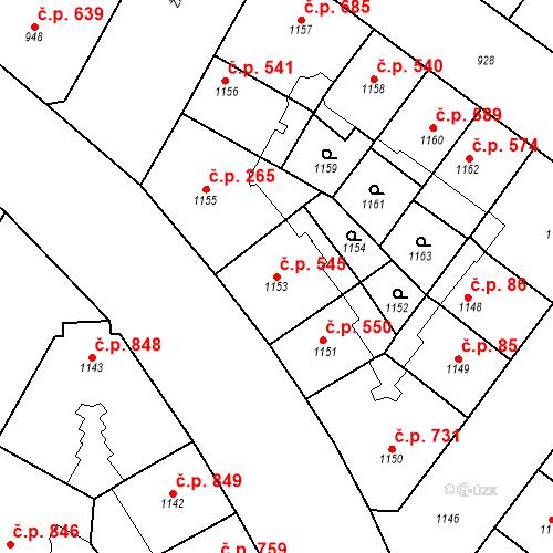 Katastrální mapa Stavební objekt Vršovice 545, Praha