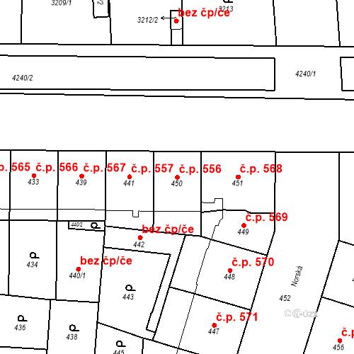 Katastrální mapa Stavební objekt Vršovice 556, Praha
