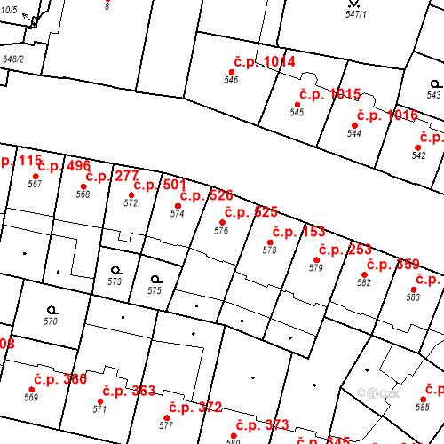 Katastrální mapa Stavební objekt Vršovice 525, Praha