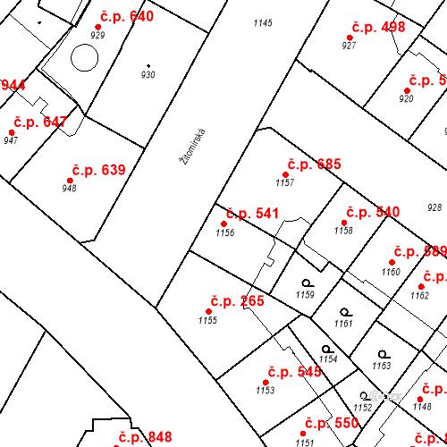 Katastrální mapa Stavební objekt Vršovice 541, Praha