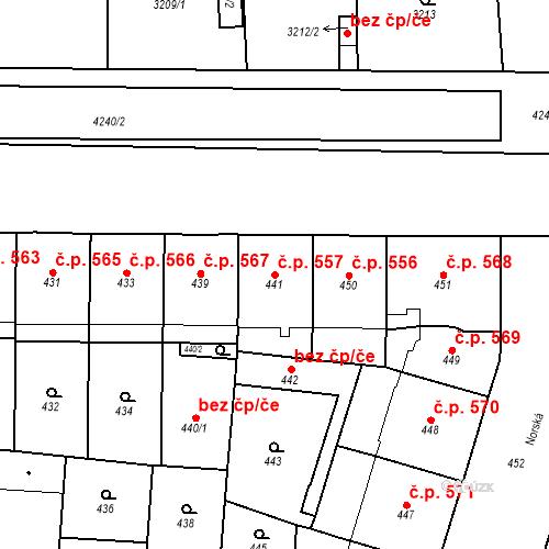 Katastrální mapa Stavební objekt Vršovice 557, Praha