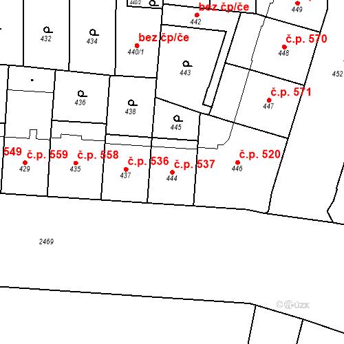 Katastrální mapa Stavební objekt Vršovice 537, Praha