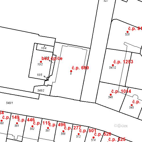 Katastrální mapa Stavební objekt Vršovice 669, Praha