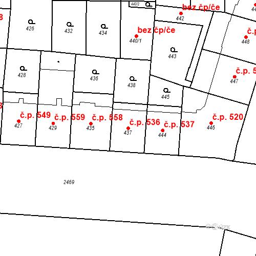 Katastrální mapa Stavební objekt Vršovice 536, Praha