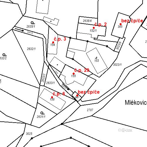 Katastrální mapa Stavební objekt Mlékovice 29, Neveklov