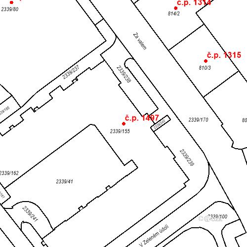 Katastrální mapa Stavební objekt Kunratice 1497, Praha