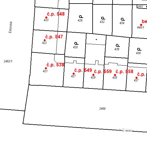 Katastrální mapa Stavební objekt Vršovice 549, Praha