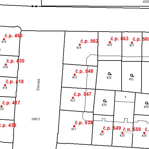 Katastrální mapa Stavební objekt Vršovice 548, Praha