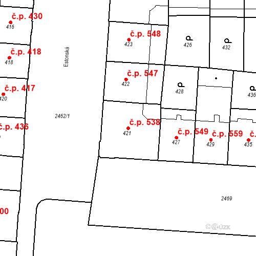 Katastrální mapa Stavební objekt Vršovice 538, Praha