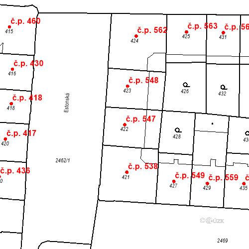 Katastrální mapa Stavební objekt Vršovice 547, Praha