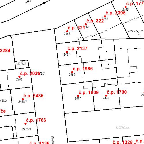 Katastrální mapa Stavební objekt Vinohrady 1986, Praha