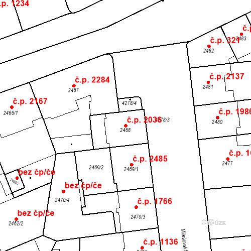 Katastrální mapa Stavební objekt Vinohrady 2036, Praha