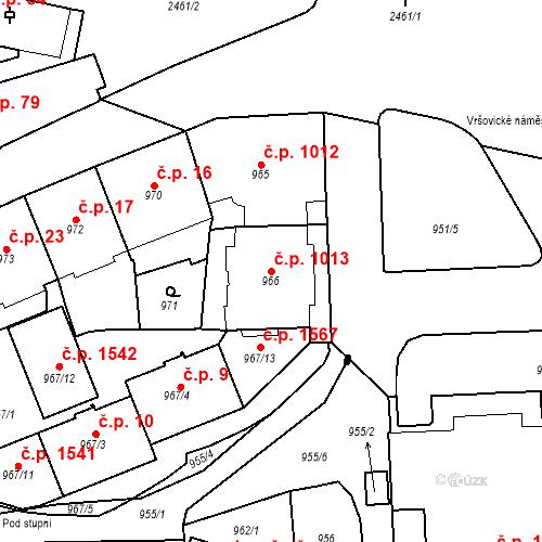 Katastrální mapa Stavební objekt Vršovice 1013, Praha