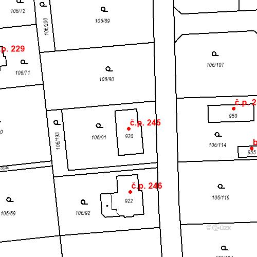 Katastrální mapa Stavební objekt Brnky 245, Zdiby