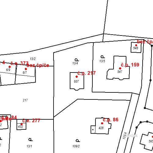 Katastrální mapa Stavební objekt Přemyšlení 217, Zdiby