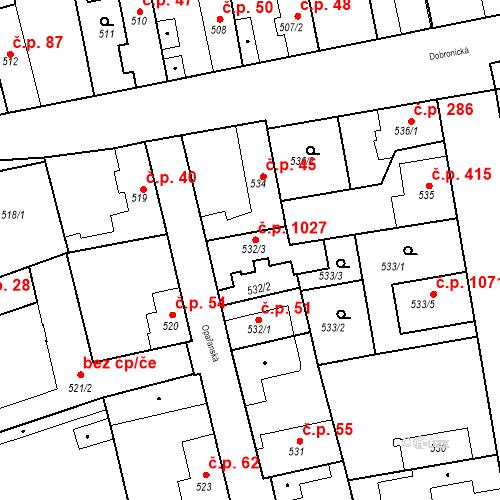 Katastrální mapa Stavební objekt Libuš 1027, Praha