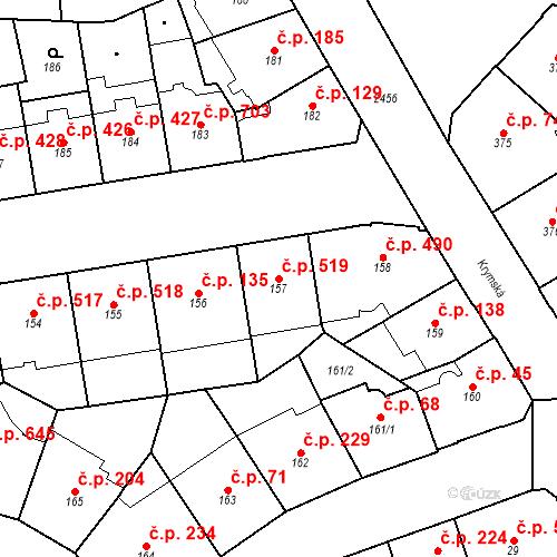 Katastrální mapa Stavební objekt Vršovice 519, Praha