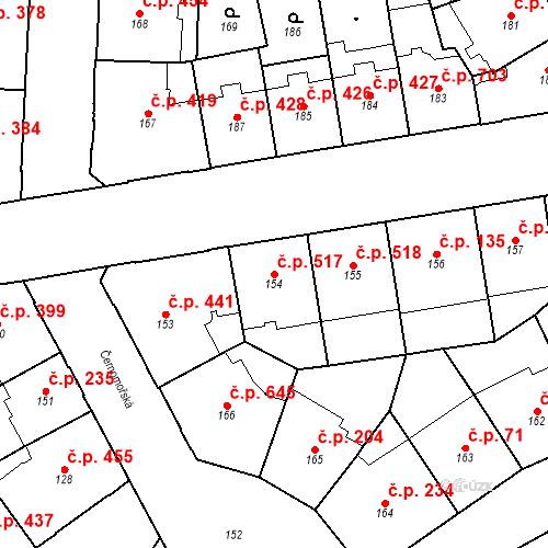 Katastrální mapa Stavební objekt Vršovice 517, Praha