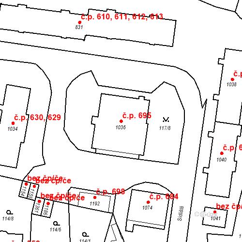 Katastrální mapa Stavební objekt Benešov nad Ploučnicí 695, Benešov nad Ploučnicí