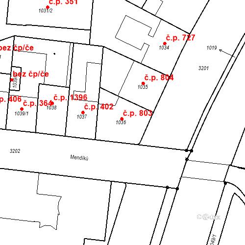 Katastrální mapa Stavební objekt Michle 803, Praha