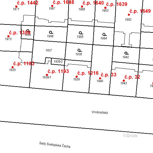 Katastrální mapa Stavební objekt Vinohrady 1216, Praha