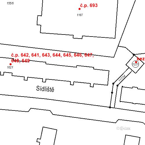 Katastrální mapa Stavební objekt Benešov nad Ploučnicí 641, 642, 643, 644, 645, Benešov nad Ploučnicí
