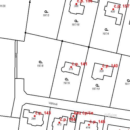 Katastrální mapa Stavební objekt Dolínek 141, Odolena Voda