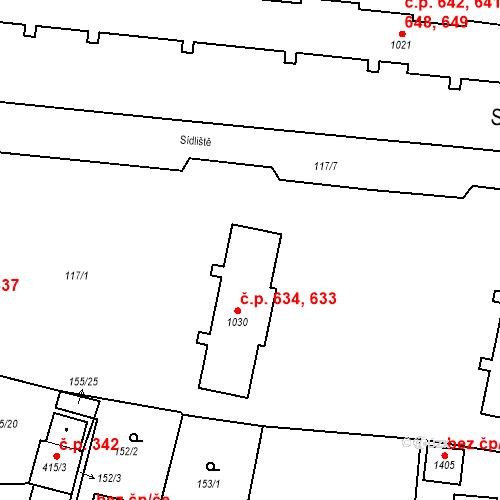 Katastrální mapa Stavební objekt Benešov nad Ploučnicí 633, 634, Benešov nad Ploučnicí