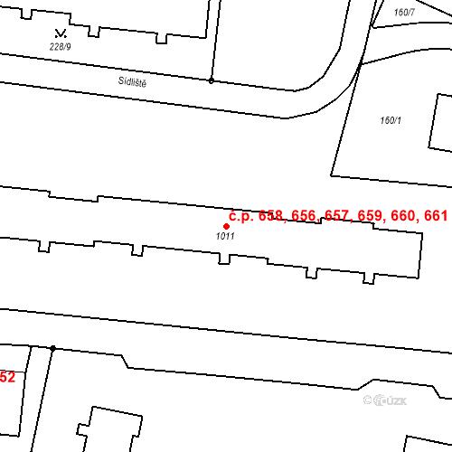 Katastrální mapa Stavební objekt Benešov nad Ploučnicí 656, 657, 658, 659, 660, Benešov nad Ploučnicí