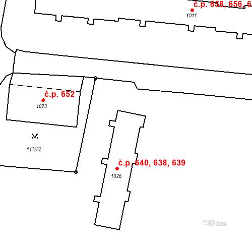 Katastrální mapa Stavební objekt Benešov nad Ploučnicí 638, 639, 640, Benešov nad Ploučnicí