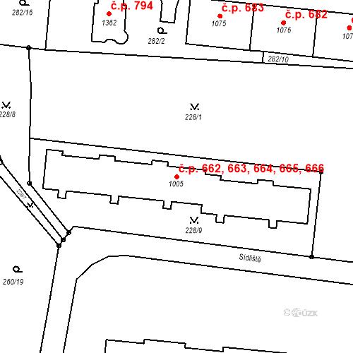 Katastrální mapa Stavební objekt Benešov nad Ploučnicí 662, 663, 664, 665, 666, Benešov nad Ploučnicí