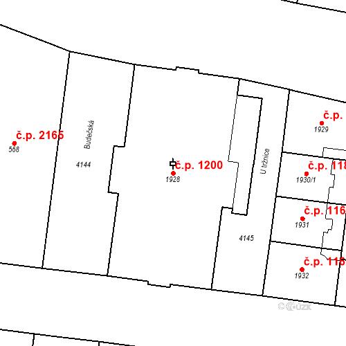 Katastrální mapa Stavební objekt Vinohrady 1200, Praha