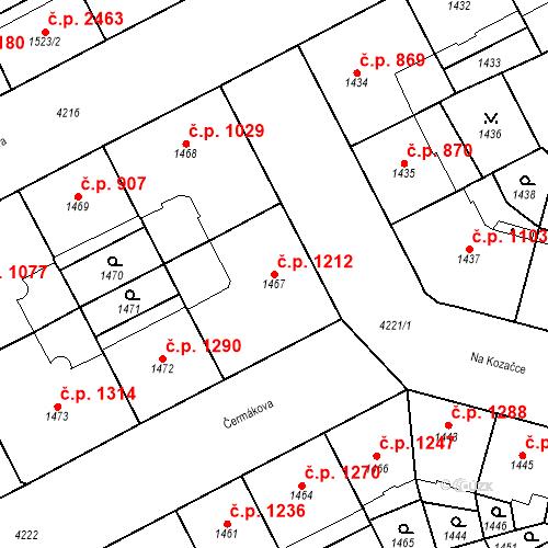 Katastrální mapa Stavební objekt Vinohrady 1212, Praha