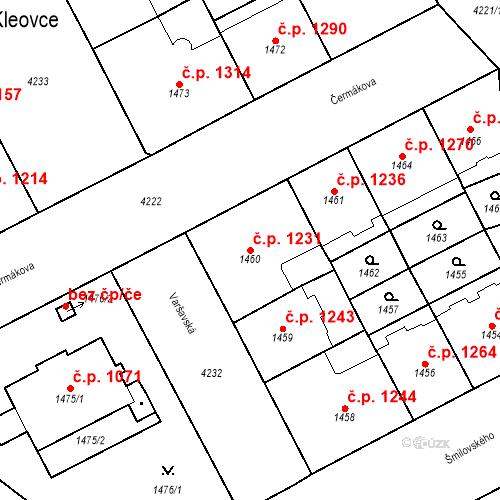 Katastrální mapa Stavební objekt Vinohrady 1231, Praha