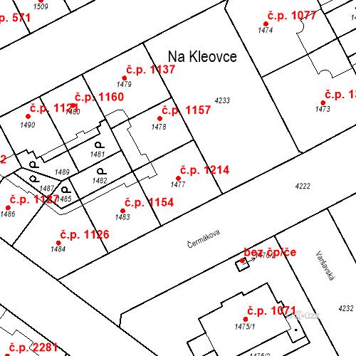 Katastrální mapa Stavební objekt Vinohrady 1214, Praha