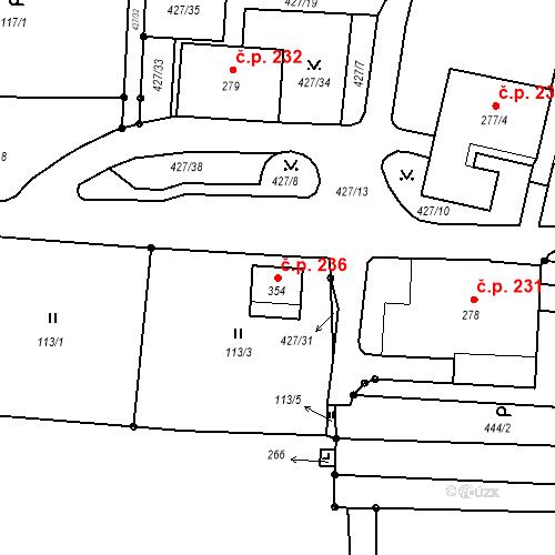 Katastrální mapa Stavební objekt Janov 236, Janov