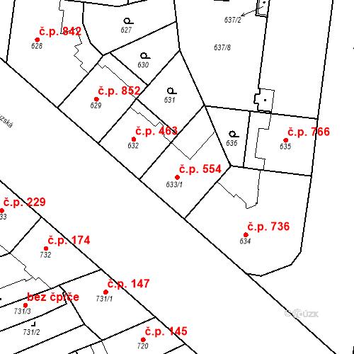 Katastrální mapa Stavební objekt Vinohrady 554, Praha