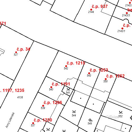 Katastrální mapa Stavební objekt Vinohrady 1215, Praha