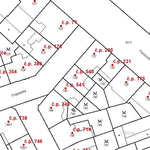 Katastrální mapa Stavební objekt Vinohrady 540, Praha