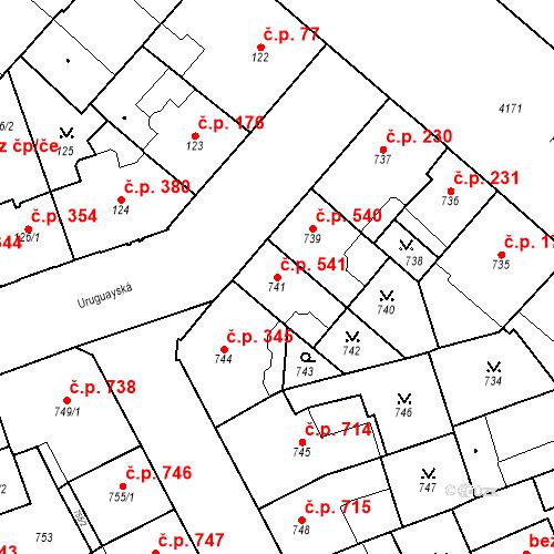 Katastrální mapa Stavební objekt Vinohrady 541, Praha