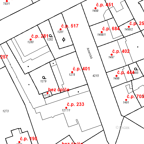 Katastrální mapa Stavební objekt Vinohrady 401, Praha