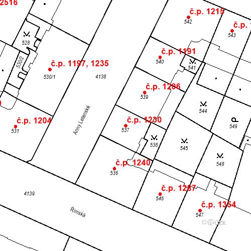 Katastrální mapa Stavební objekt Vinohrady 1230, Praha