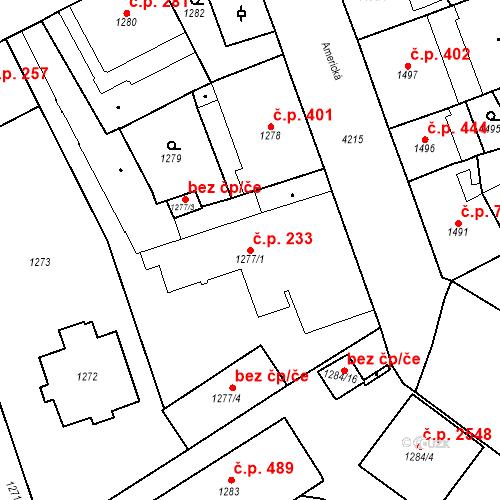 Katastrální mapa Stavební objekt Vinohrady 233, Praha