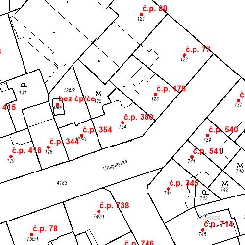 Katastrální mapa Stavební objekt Vinohrady 380, Praha