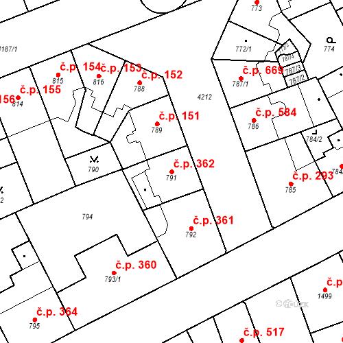 Katastrální mapa Stavební objekt Vinohrady 362, Praha