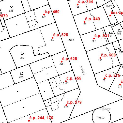 Katastrální mapa Stavební objekt Vinohrady 625, Praha