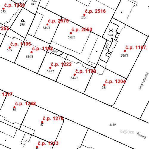 Katastrální mapa Stavební objekt Vinohrady 1199, Praha