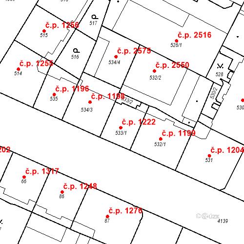 Katastrální mapa Stavební objekt Vinohrady 1222, Praha