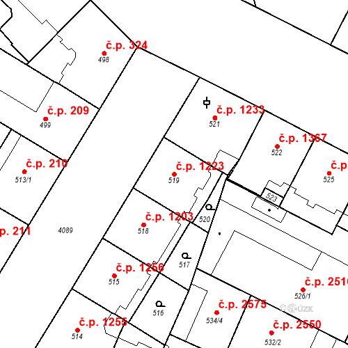Katastrální mapa Stavební objekt Vinohrady 1223, Praha
