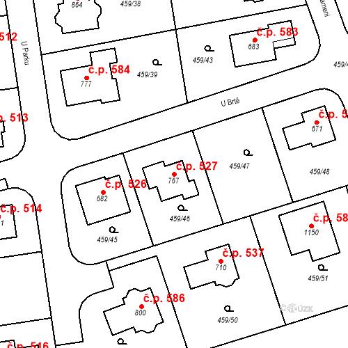 Katastrální mapa Stavební objekt Dolní Břežany 527, Dolní Břežany